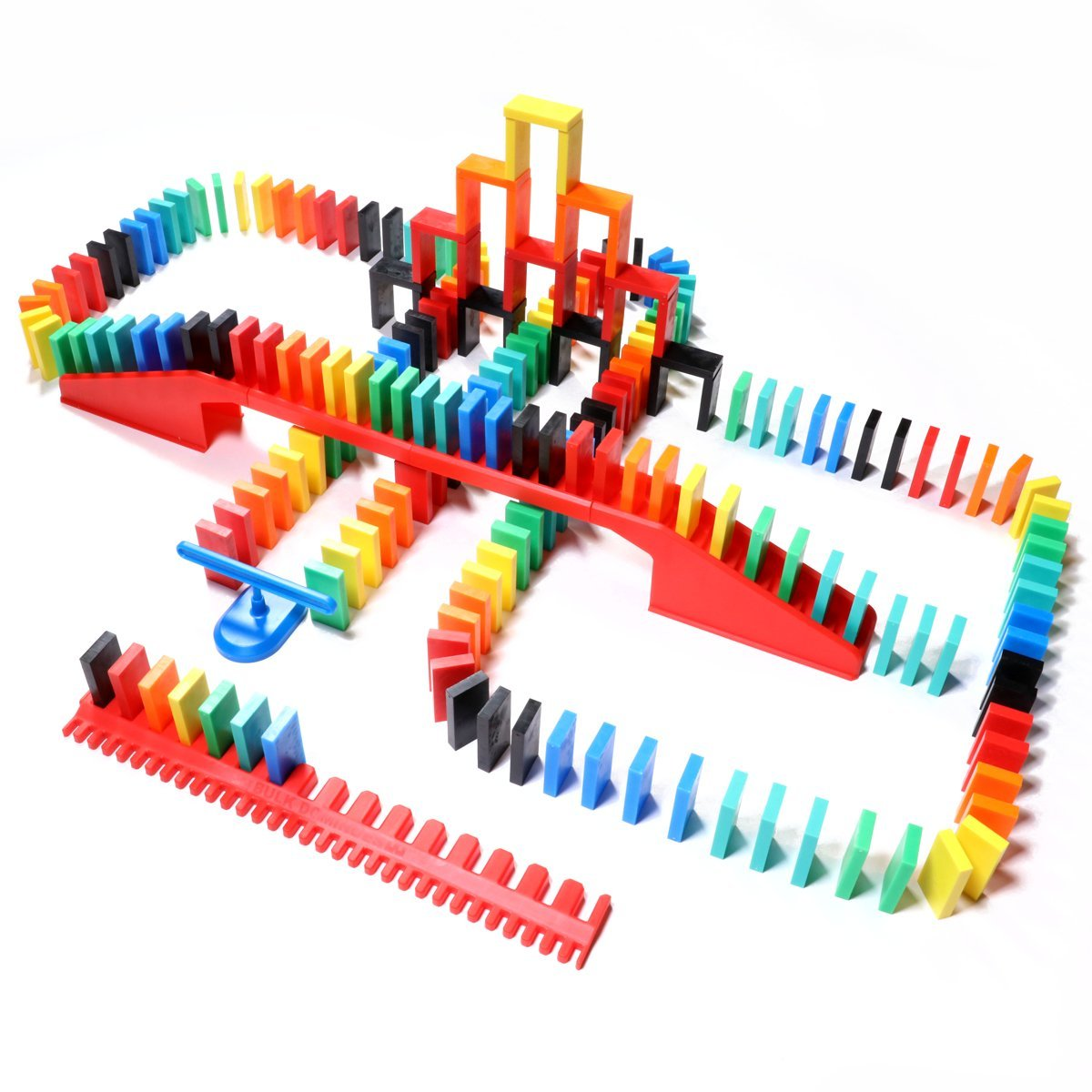 Bulk Dominoes 206pcs Pro-Domino Starter kit | pro-Scale, Premium Stacking & toppling Domino Set Chain Reaction STEAM Building Toy Set