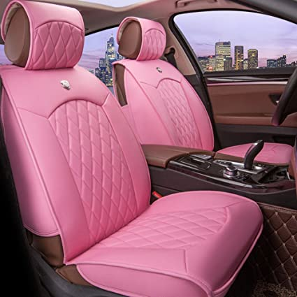 Seemehappy Romantic Pure Pink Car Seat Covers Leather Front And Rear Set Universal Fit