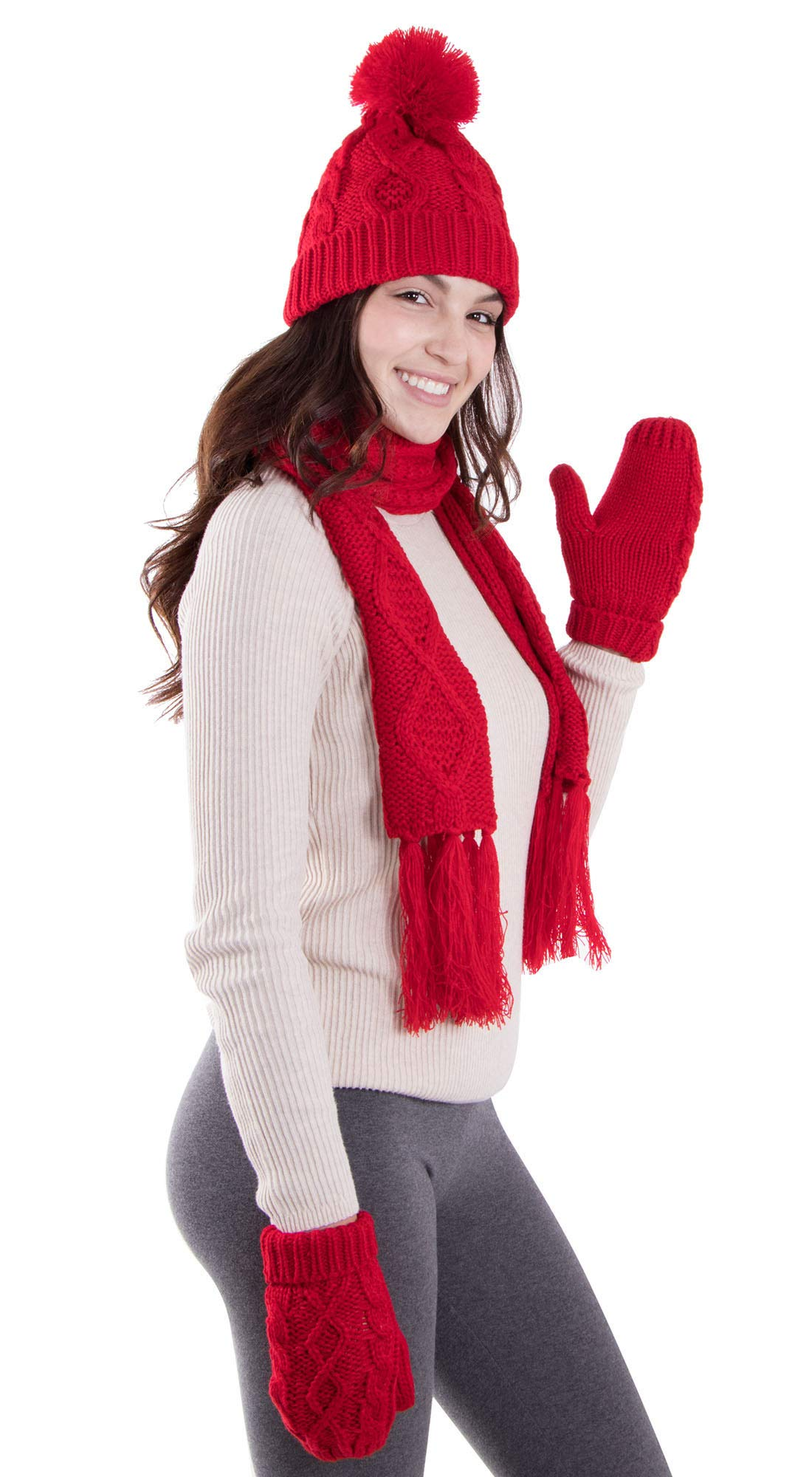ANDORRA - 3 in 1 - Soft Warm Thick Cable Hat Scarf & Gloves Winter Set, Red by Andorra (Image #3)
