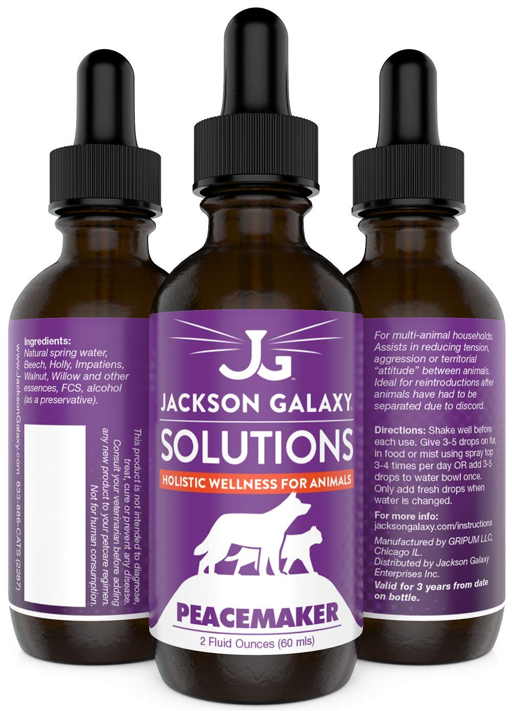 Jackson Galaxy: Peacemaker (2 oz.) - Pet Solution - Promotes Sense of Community - Can Reduce Aggression, Tension, Jealousy - All-Natural Formula - Reiki Energy 1