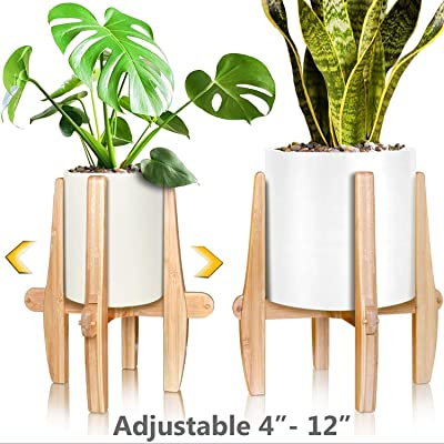 Mid Century Modern Plant Stand - Unique Indoor/Outdoor Mid Century Plant Stand, 4 to 12 Inch Adjustable Natural Bamboo Plant Holder - (Planters and Plants NOT Included) : Garden & Outdoor