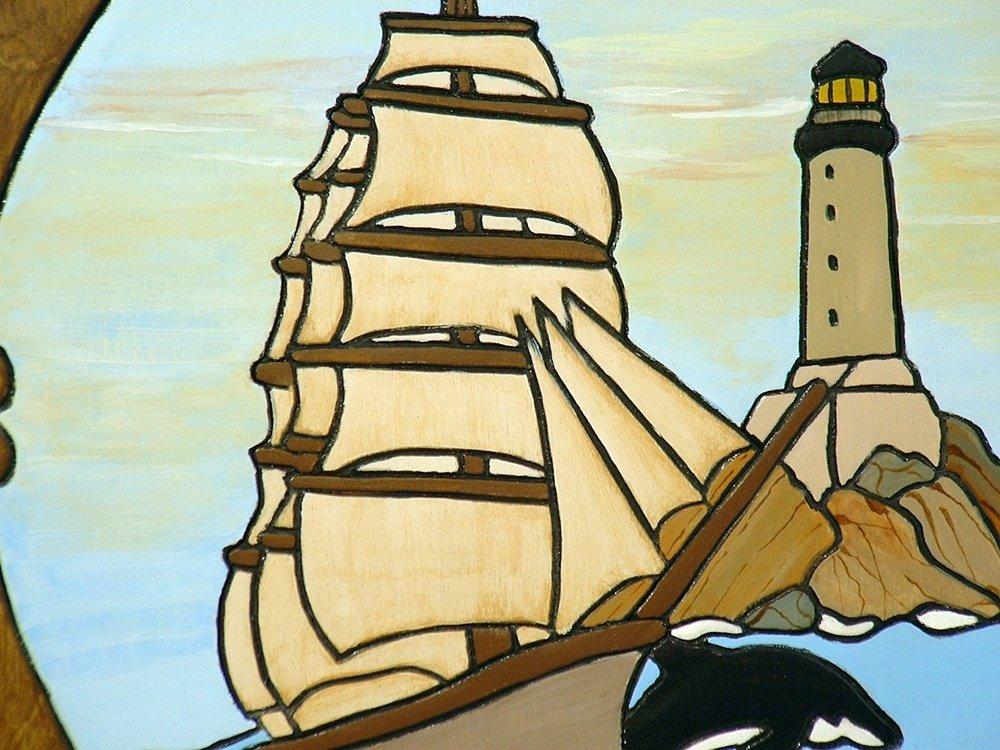 Amazon.com: Ship and Lighthouse, Wood Sculpture Wall Hanging Art ...