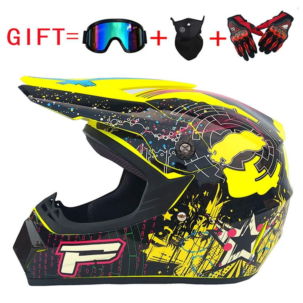 Wenyan Adult Motocross Motorradhelm Und Adult MX Motocross (Handschuhe, Brille, Maske, 4-Teiliges Set; In Verschiedenen Farben Und Ausführungen Erhältlich)
