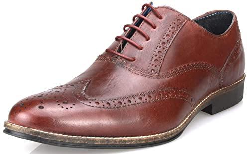 Red Tape Mens Leather Formal Brogues Lace Up Fashion Shoes in Tan Burgandy Brown Black