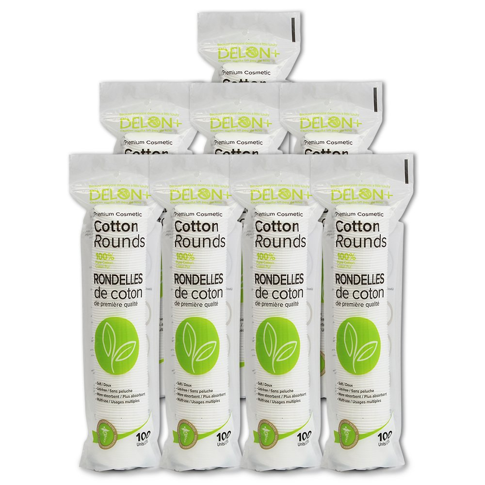 Delon Premium Facial Cleansing Cotton Rounds   Dermatologist Tested and Approved   8x100 Count Stacks