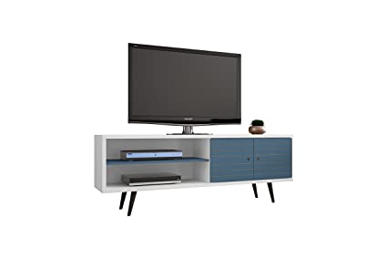 Modhaus Living Mid Century Modern Tv Stand Media Cabinet With Shelves And Doors Includes Pen White And Aqua Blue