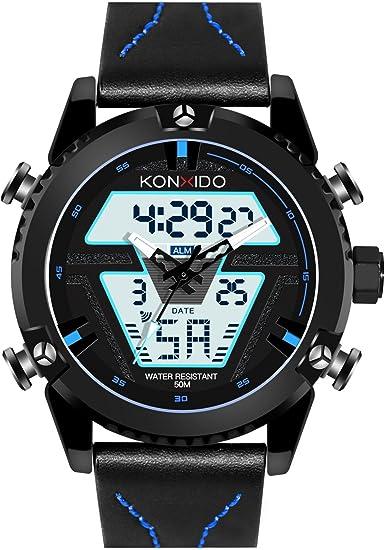 KONXIDO ◊Career Series◊ Reloj Hombre Analógico de del Cuarzo de Acero Inoxidable de la Correa de Impermeable con la Luz de Fondo del Diseño Alarma y el Calendario