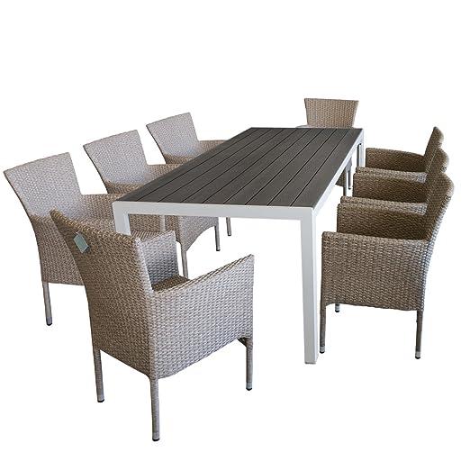 Juego de muebles de jardín mesa aluminio jardín con Robusto ...