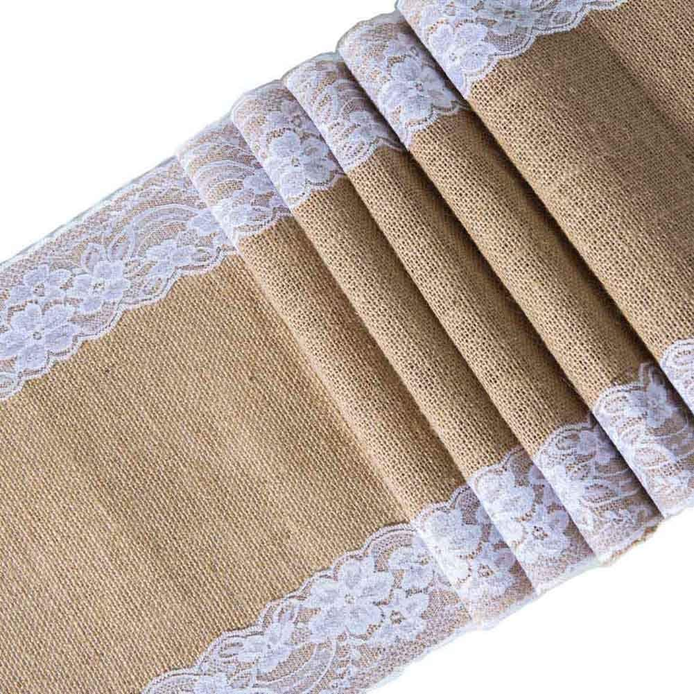 Toaroa Burlap Hessian White Lace Table Runner Natural Jute for Rustic Vintage Country Wedding Party