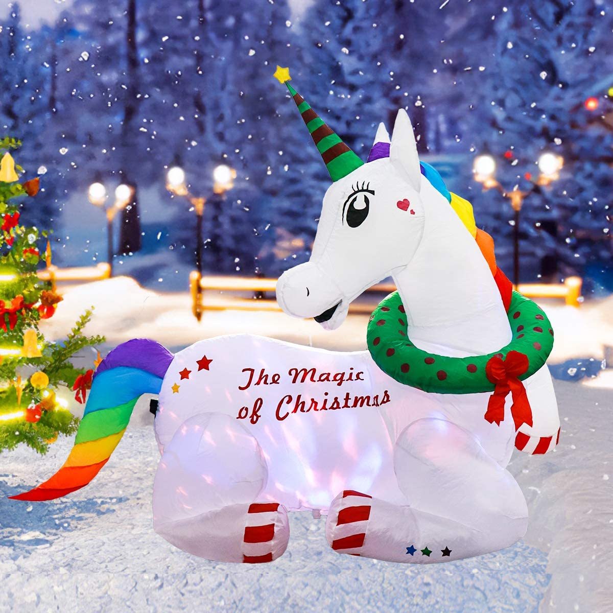 Meland Christmas Inflatable Magical Unicorn 6ft - Self Inflating Xmas Unicorn Decorations with 7 Color Rotating Lights for Indoor Outdoor Christmas Party Yard Garden