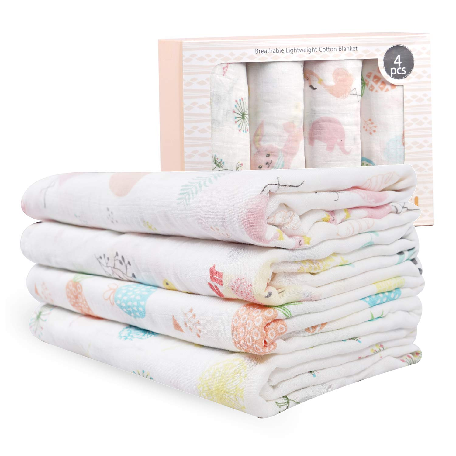 Baby Muslin Swaddle Blanket for Newborn Girls | 70% Bamboo 30% Cotton Receiving Blanket Swaddle Wrap with Gift Box | 4 Packs 47 X 47 inch Muslin Towel | Bunny, Pineapple, Dandelion, Flamingo by Viviland