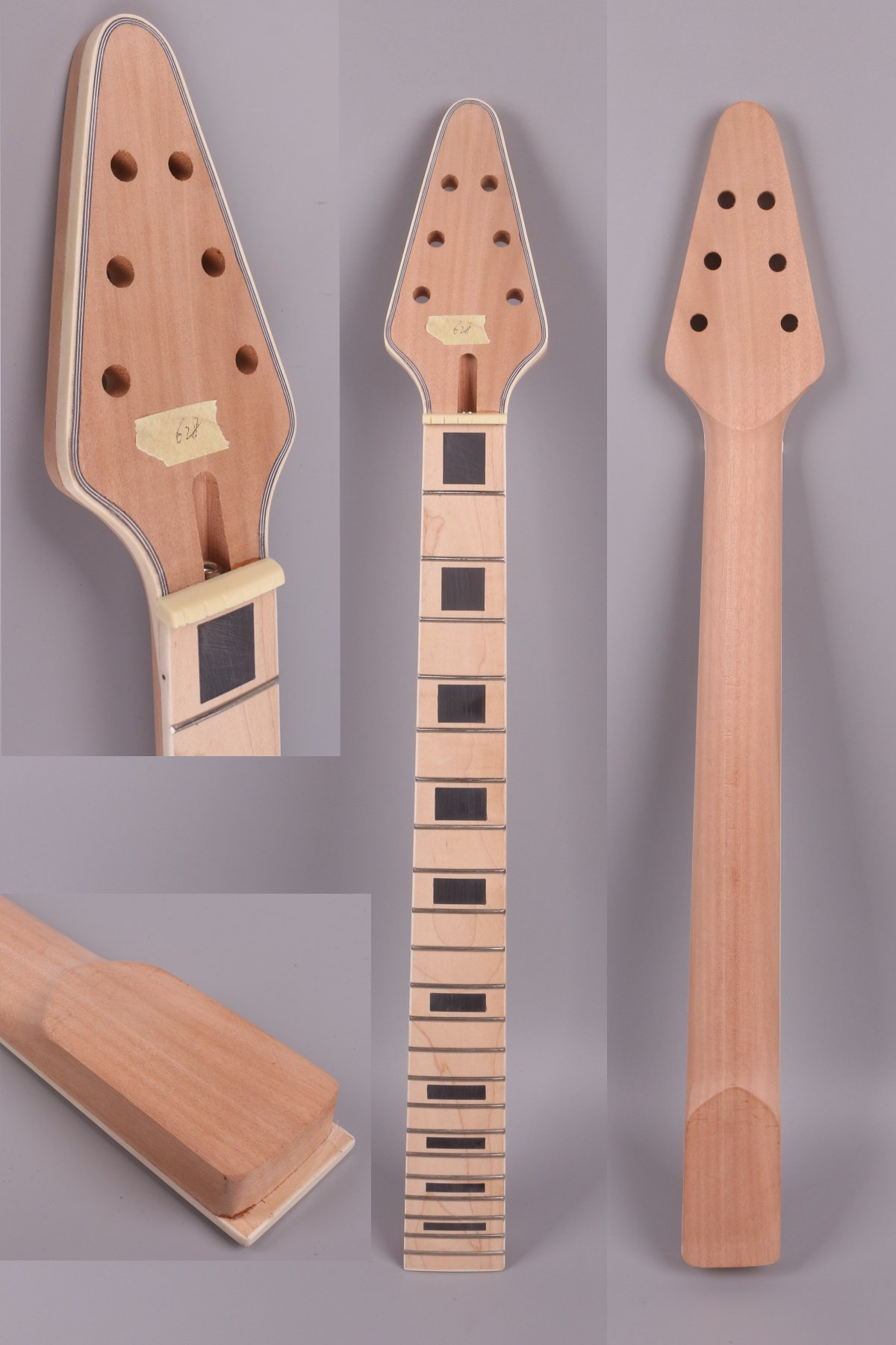 Yinfente Electric Guitar Neck Unfinished 22 fret For Electric Guitar Replacement Maple Mahogany Wood