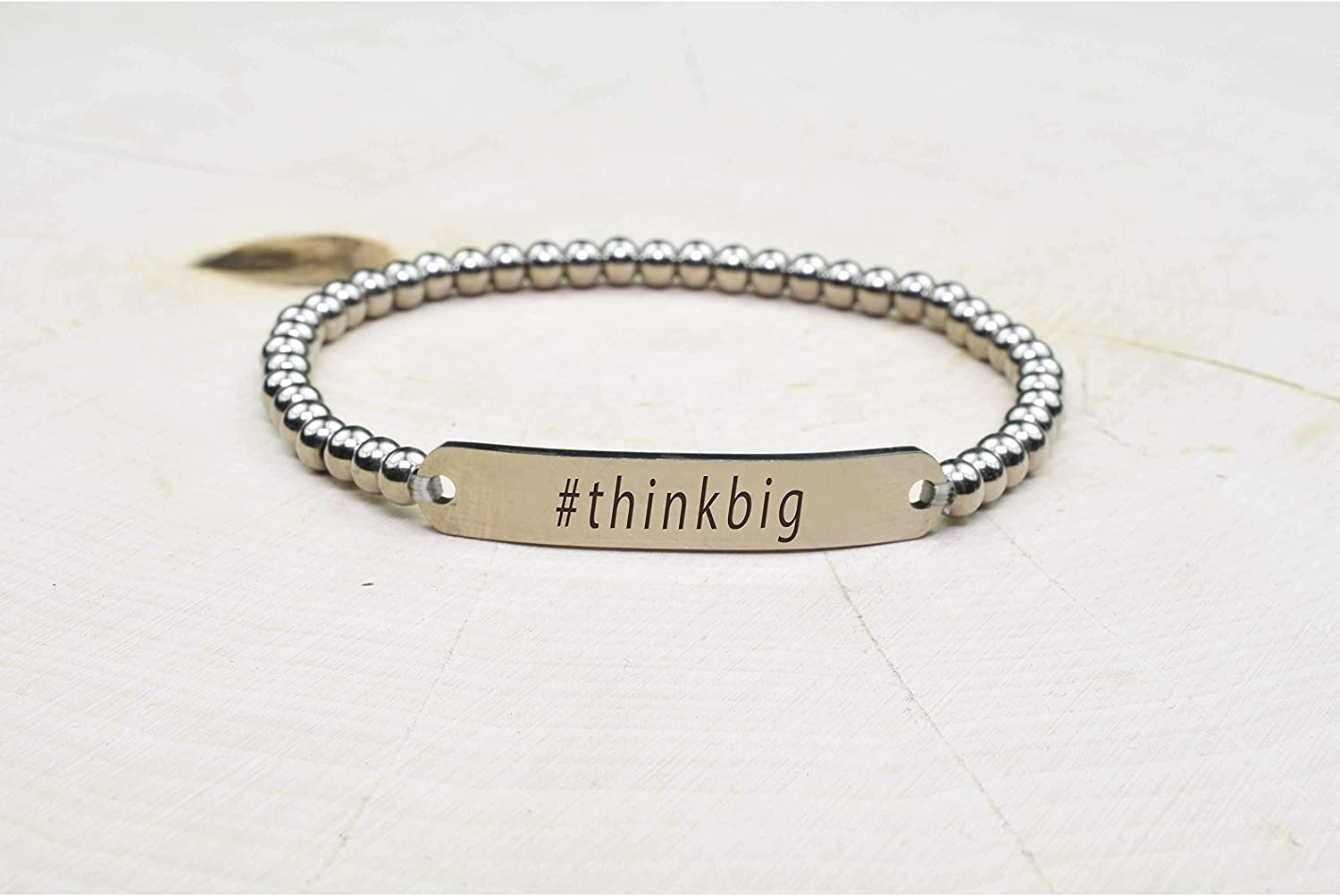 Silver Think Big Solid Stainless Steel Beaded Hashtag Bracelet