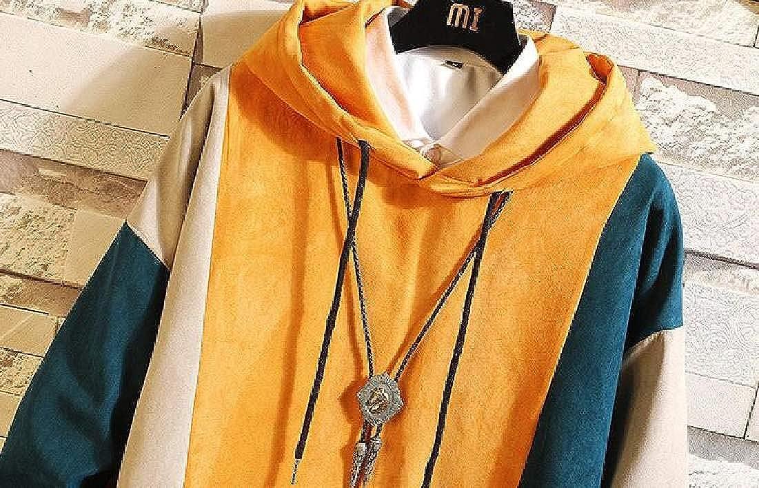 Fubotevic Mens Pullover Loose Fit Color Block Casual Long Sleeve Hooded Hoodie Sweatshirt Yellow US M