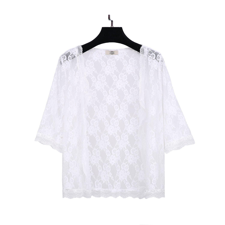 Womens Plus Size Half Sleeve Lace Shurg Bolero Blouse Jacket Kimono Open Cardigan Y0541
