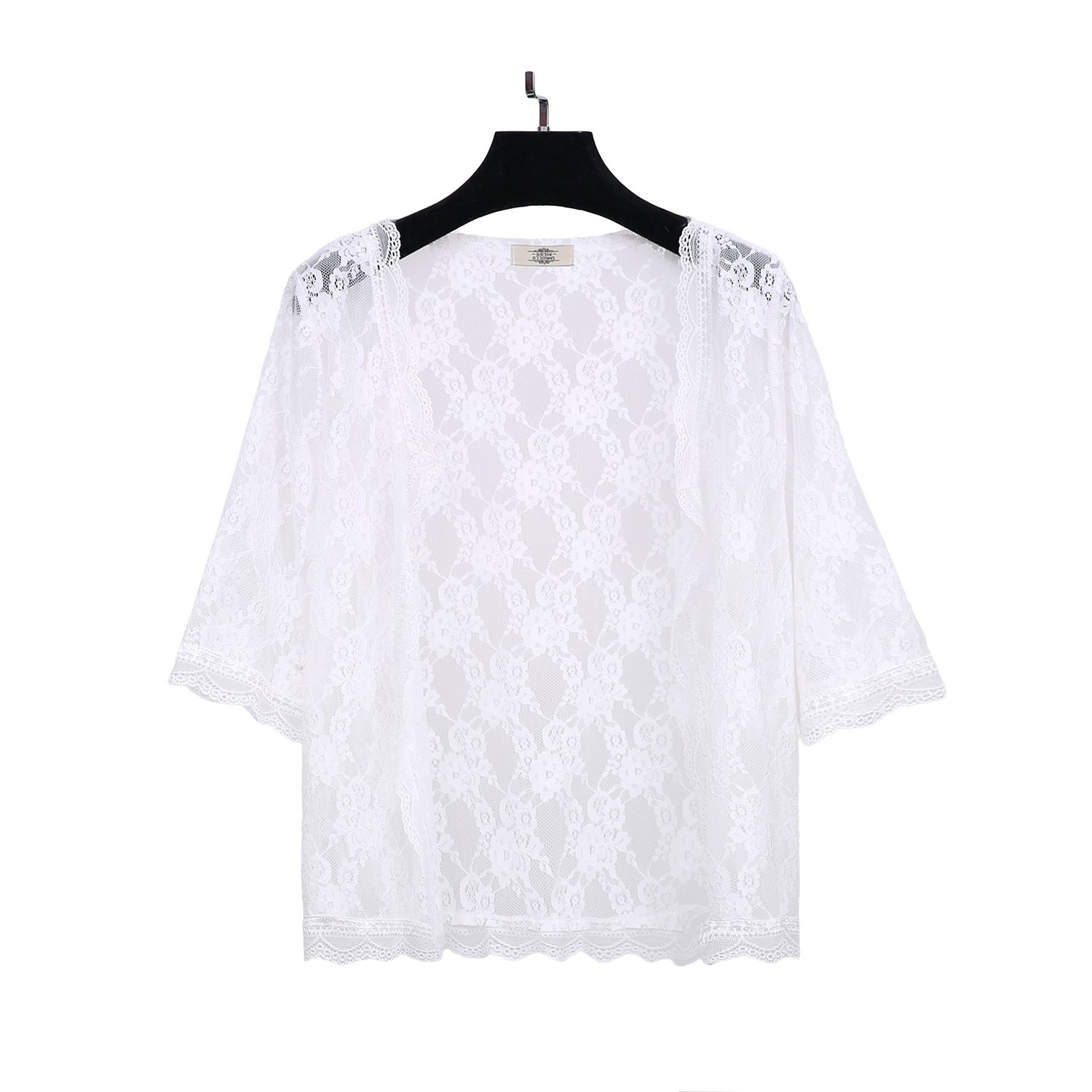 ChicChic 1/2 Sleeves See Through Lace Summer Beach Cover up Open Cardigan for Women,XL