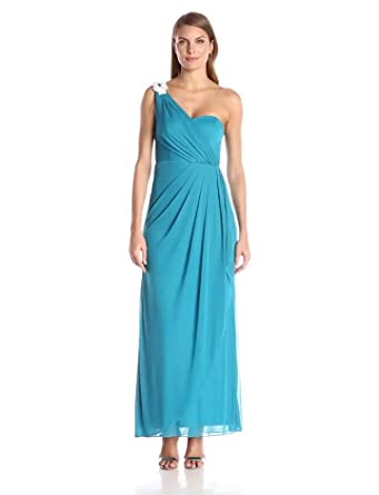 Xscape Womens One Shoulder Long Gown with Embellishment, Jade Rum, ...