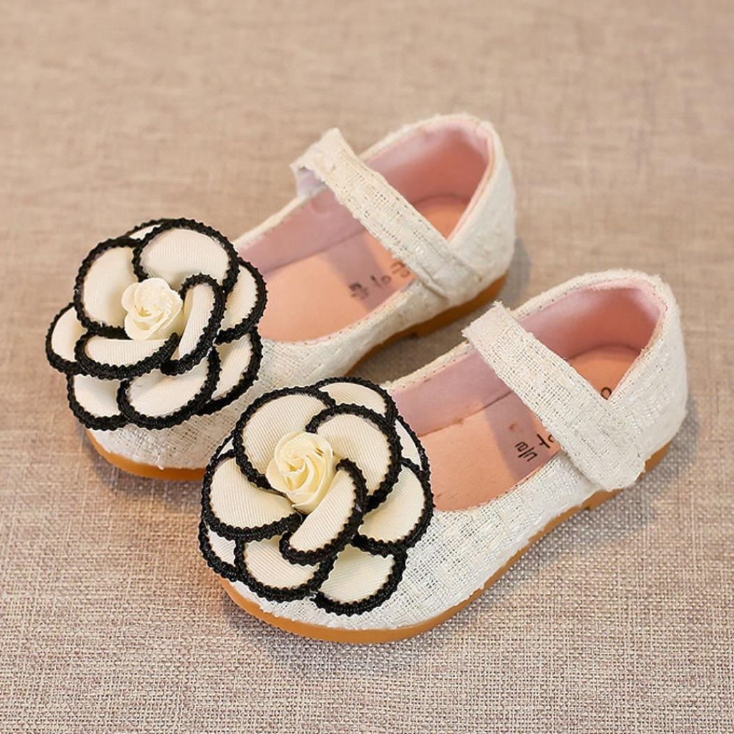 Voberry Toddler Kids Girls Camellia Flower Sandals Baby Princess Single Shoes