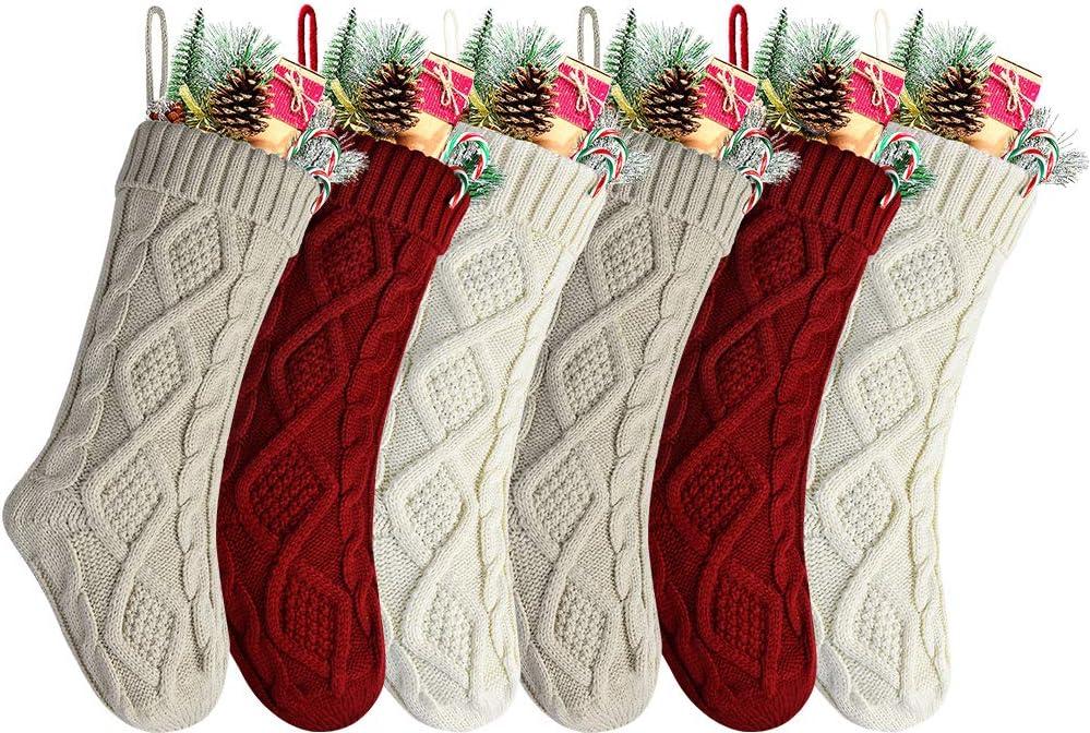 Kunyida 18 Inches Burgundy, Ivory, Khaki Knitted Christmas Stockings,6 Pack