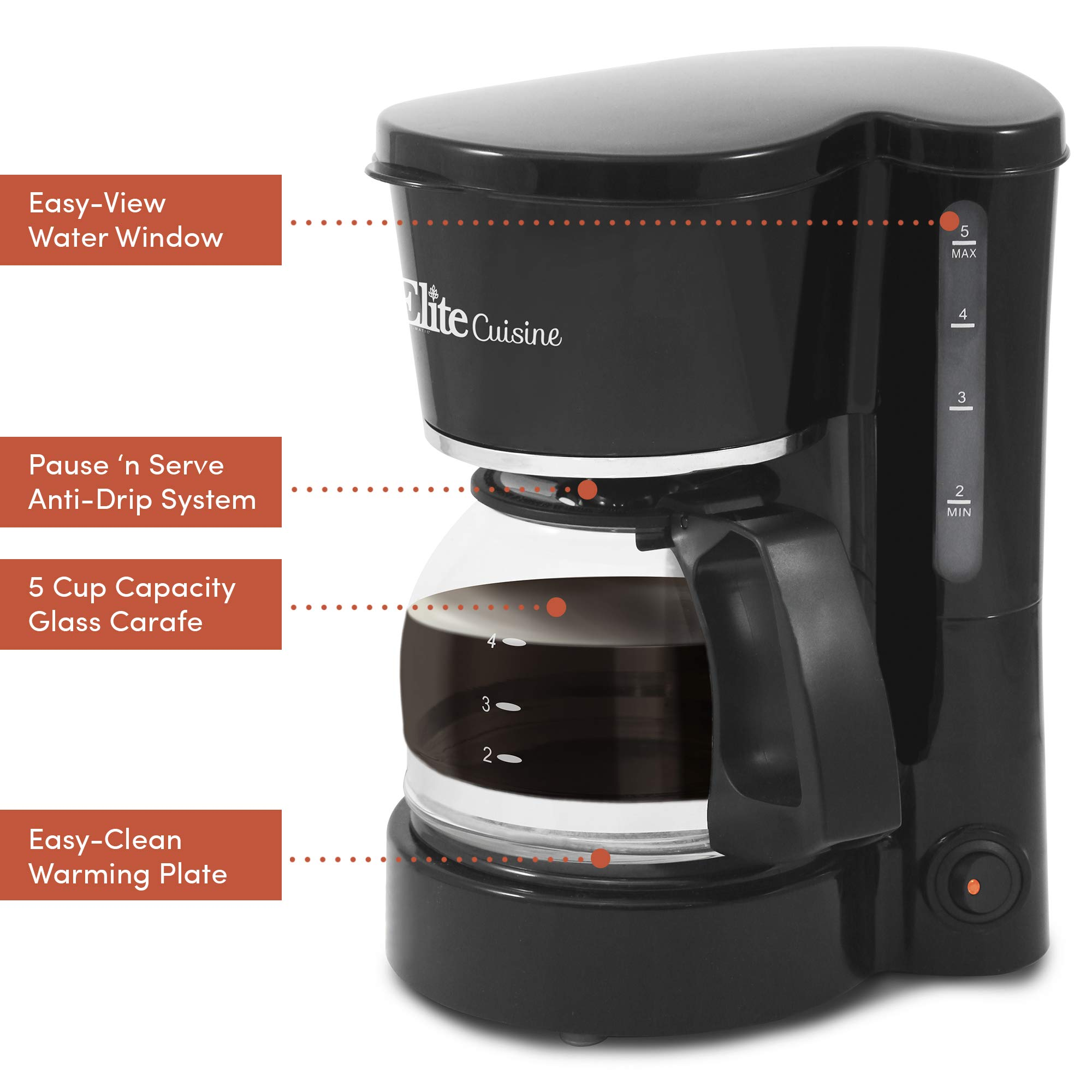 Elite Cuisine EHC-5055 Automatic Brew & Drip Coffee Maker with Pause N Serve Reusable Filter, On/Off Switch, Water Level Indicator, 5 Cup Capacity, Black by Maxi-Matic (Image #6)