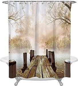 KAROLA Waterproof Custom Bathroom Shower Curtain Polyester Fabric Ocean Decor Fall Wooden Bridge Seasons Lake House Nature Country Rustic Home Art Paintings 72 x 72 Inches