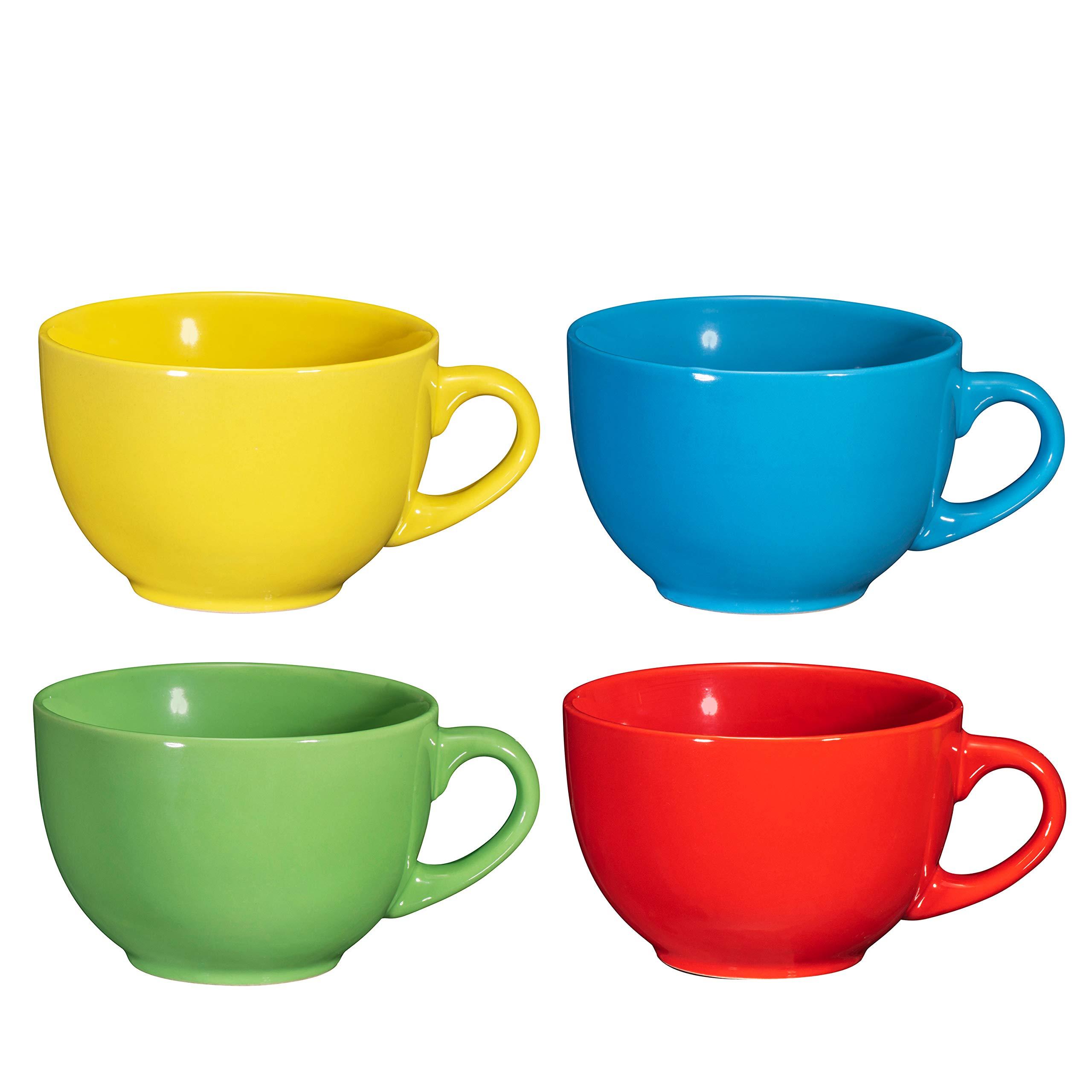 Wide Ceramic Mug Set of 4, 24 Ounce, By Bruntmor (Multi-Color)