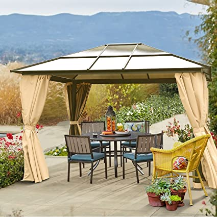10' x 12' Hard Roof Patio Gazebo Aluminum Poles Heavy Duty Structure - Amazon.com : 10' X 12' Hard Roof Patio Gazebo Aluminum Poles Heavy