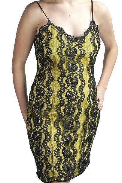 super popular 79f6b 67a55 Abito Donna Mini Tubino Elegante M Giallo Pizzo Nero Perline ...