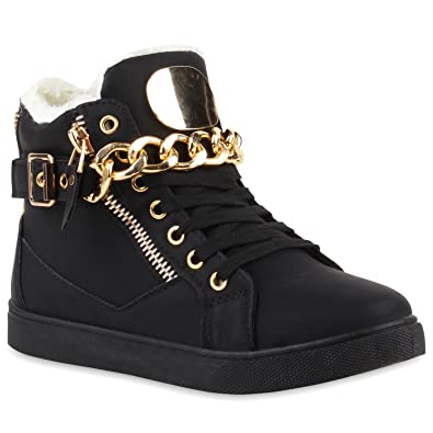 581b11a5a1f3 Warm Gefütterte Damen Sneakers High Ketten Winter Schuhe 110065 Schwarz 36  Flandell