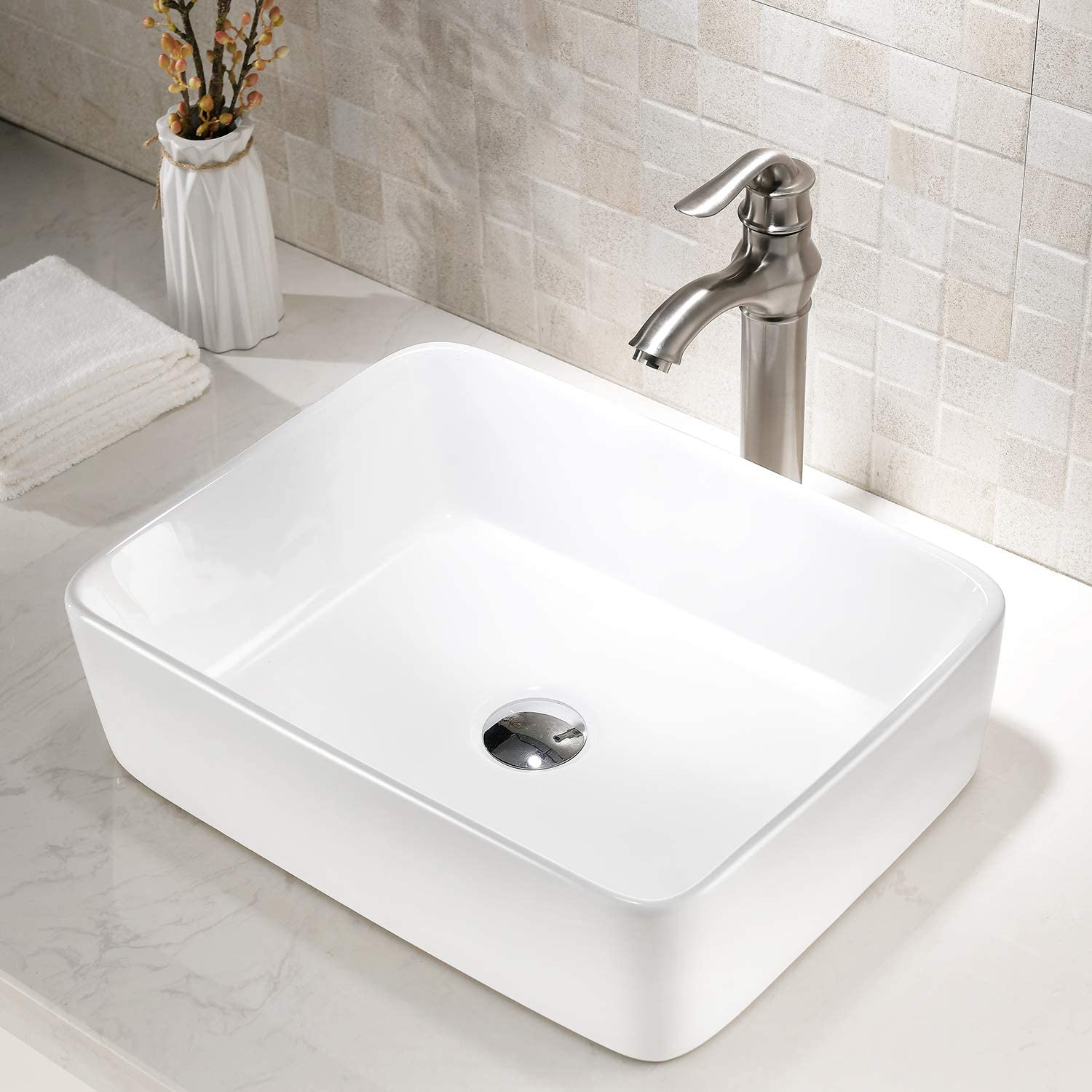 TRIUN 19 x15 Modern Porcelain Above Counter White Rectangle Square Ceramic Bathroom Vessel Sink