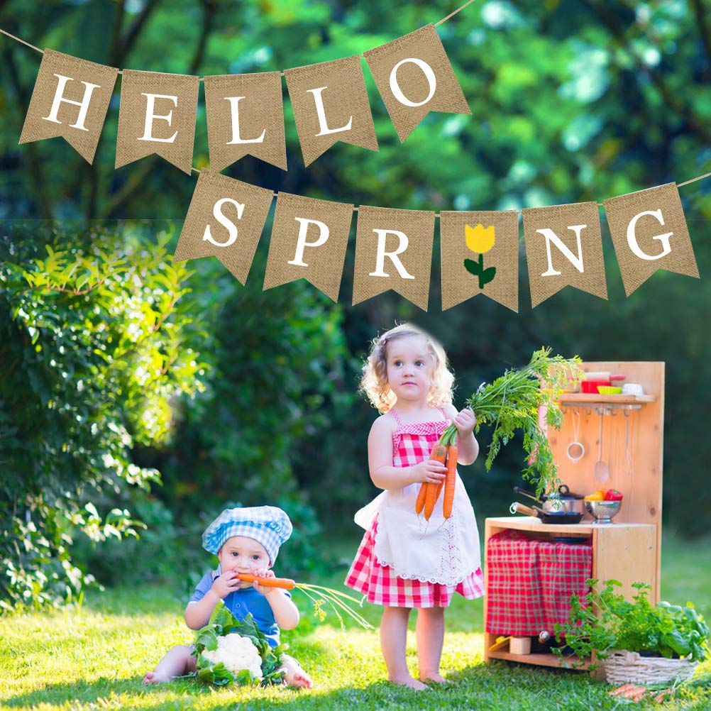 Hello Spring Banner Decoration Rustic Burlap Wall Hanging Banner Garland Seasonal Home Decors for Fireplace Mantel Garden Indoor Outdoor Welcome Spring Banner Signs Swallowtail Letters Flag