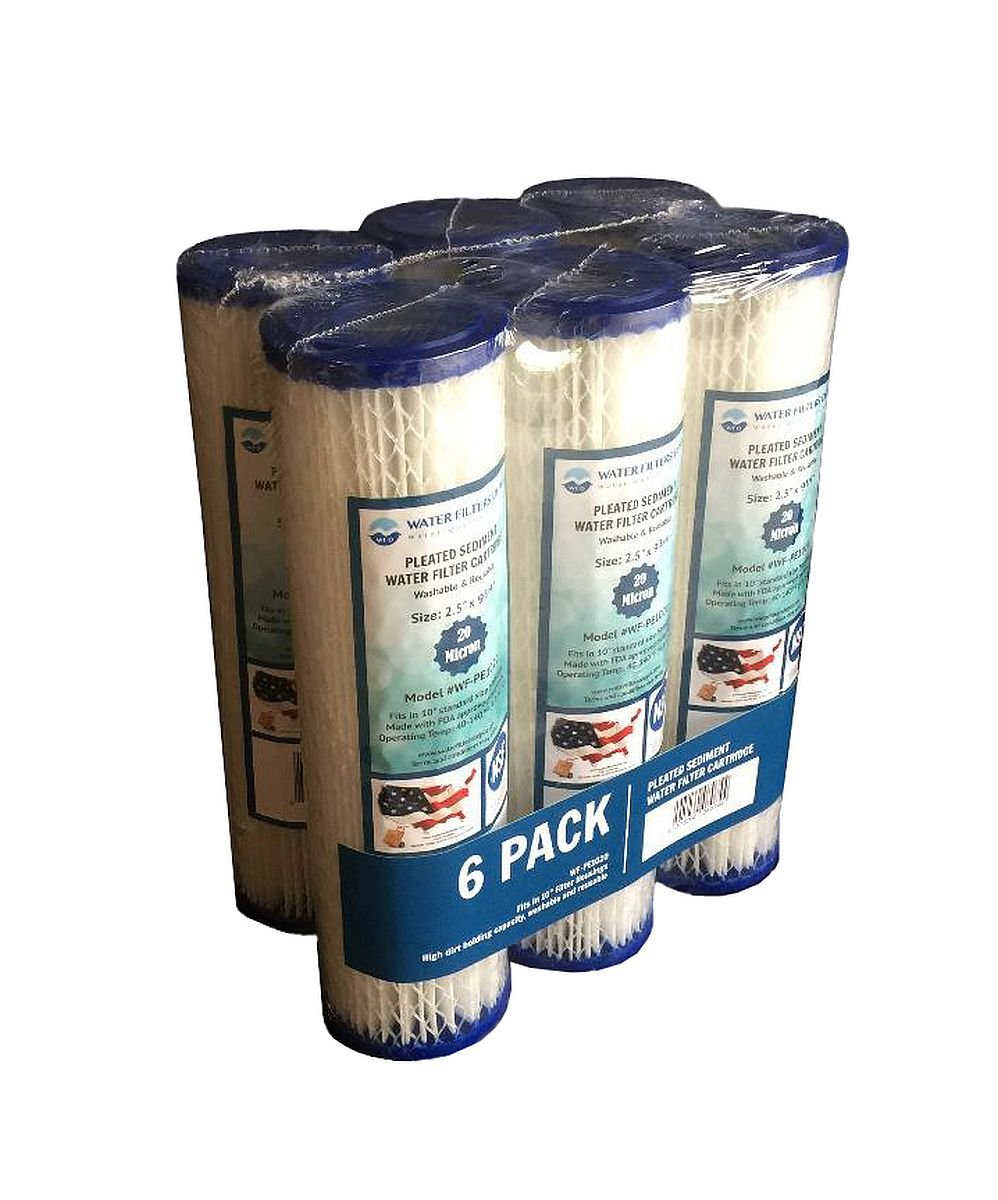 """WFD, WF-PE1020 2.5""""x9-3/4"""" 20 Micron Pleated Sediment Water Filter Cartridge, Fits in 10"""" Standard Size Housings of Undersink RO or Filtration Systems (1 Pack, 20 Micron)"""