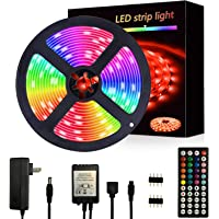 Segrasses 16.4ft 5050 RGB Led Strip Lights,5M 150 LEDs Rope Lights, IP20 Non Waterproof Color Changing with 20 Colors 8…