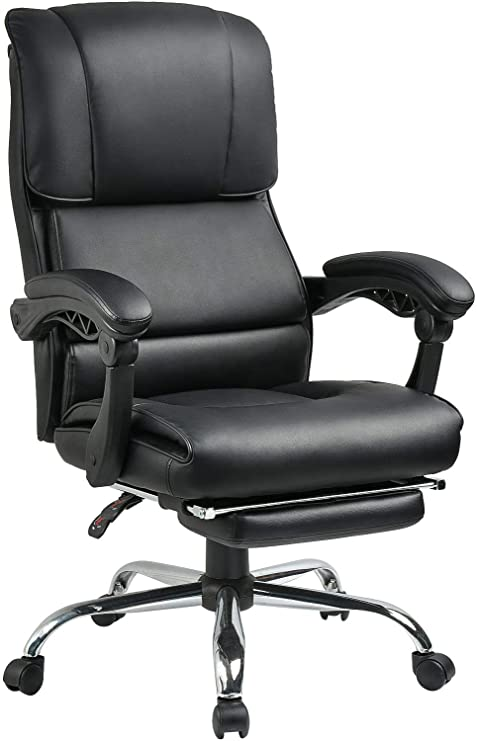 Brilliant Big And Tall 400 Lbs Executive Office Desk Chair Computer Chair High Back Pu With Lumbar Support Headrest Footrest Swivel Chair For Women Men Theyellowbook Wood Chair Design Ideas Theyellowbookinfo