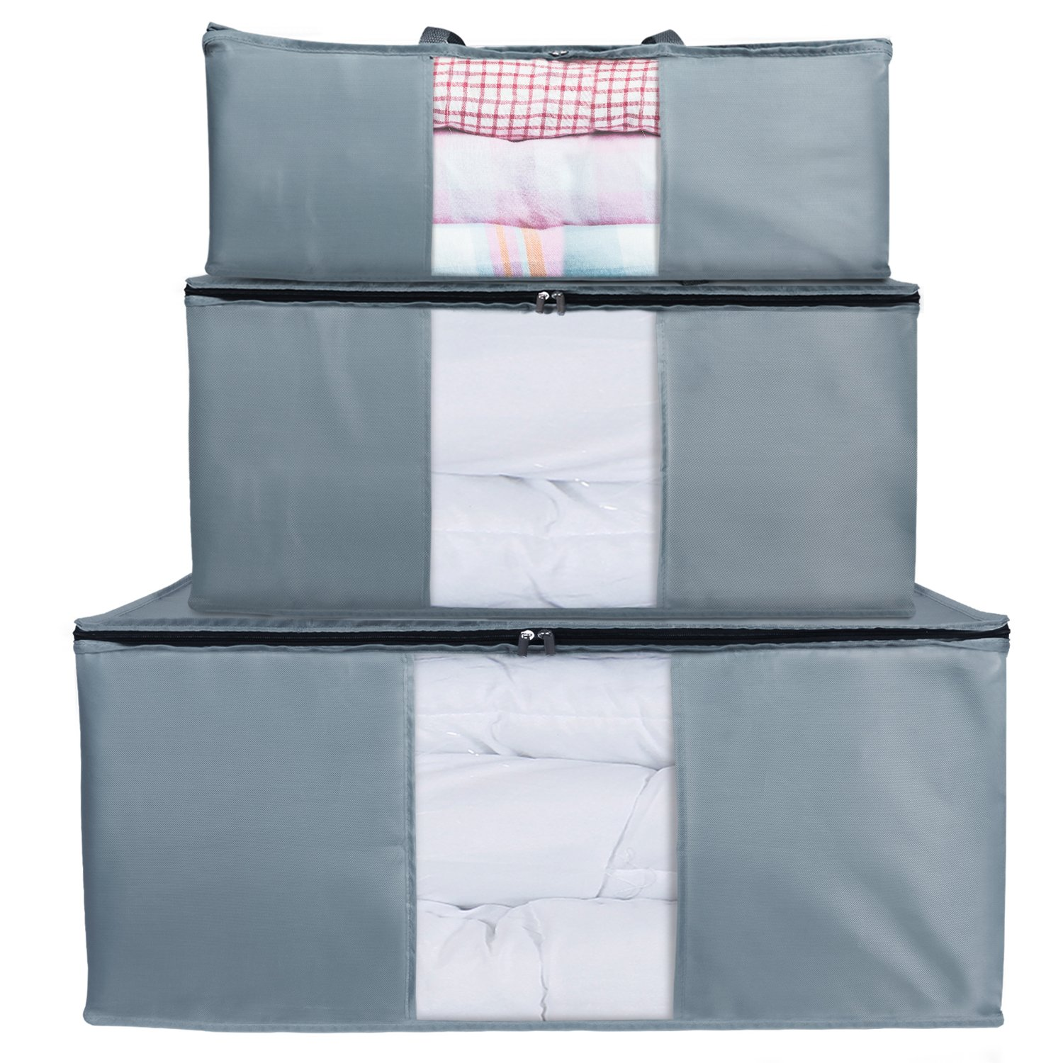 Lifewit Pack of 3 Different Size Storage Bag, Folding Organizer Bag, Under Bed Storage, College Carrying Bag for Bedding Comforters, Blanket, Clothes, Grey
