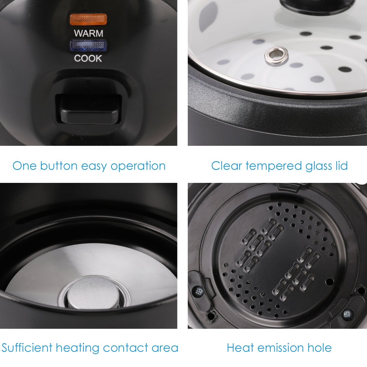 Midea 3-Cup (Cooked),1.5 Cup (Uncooked) Small Rice Cooker with Food Steamer (MRC173-B), Black by MIDEA (Image #5)