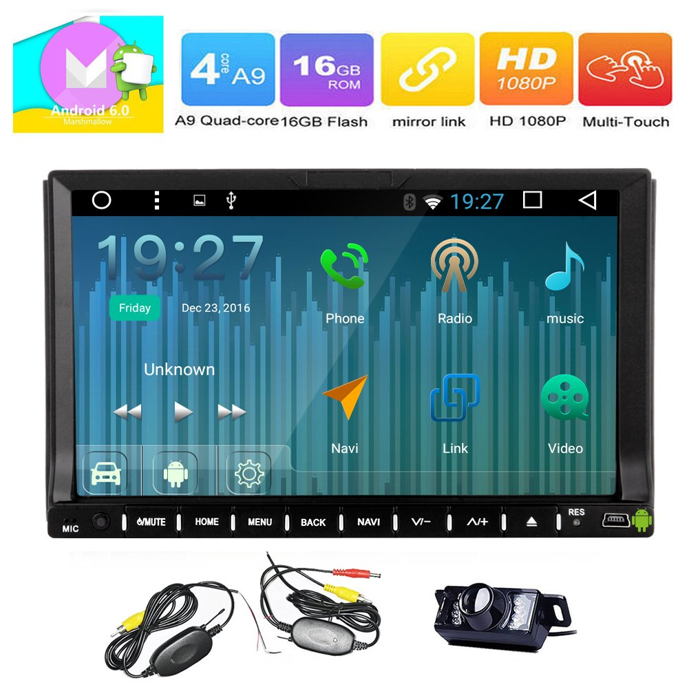 Eincar Double Din In Dash Universal Car GPS Sat Nav Navigation 7 inch HD Android Car Radio Stereo Head Unit DVD/CD/Radio (AM/FM) Player Stereo System support Steering Wheel Control/Bluetooth/SD/USB/EQ