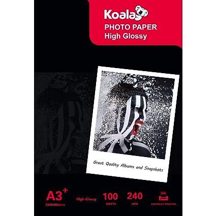 KOALA - Papel fotográfico para impresora de inyección de tinta (A3 ...
