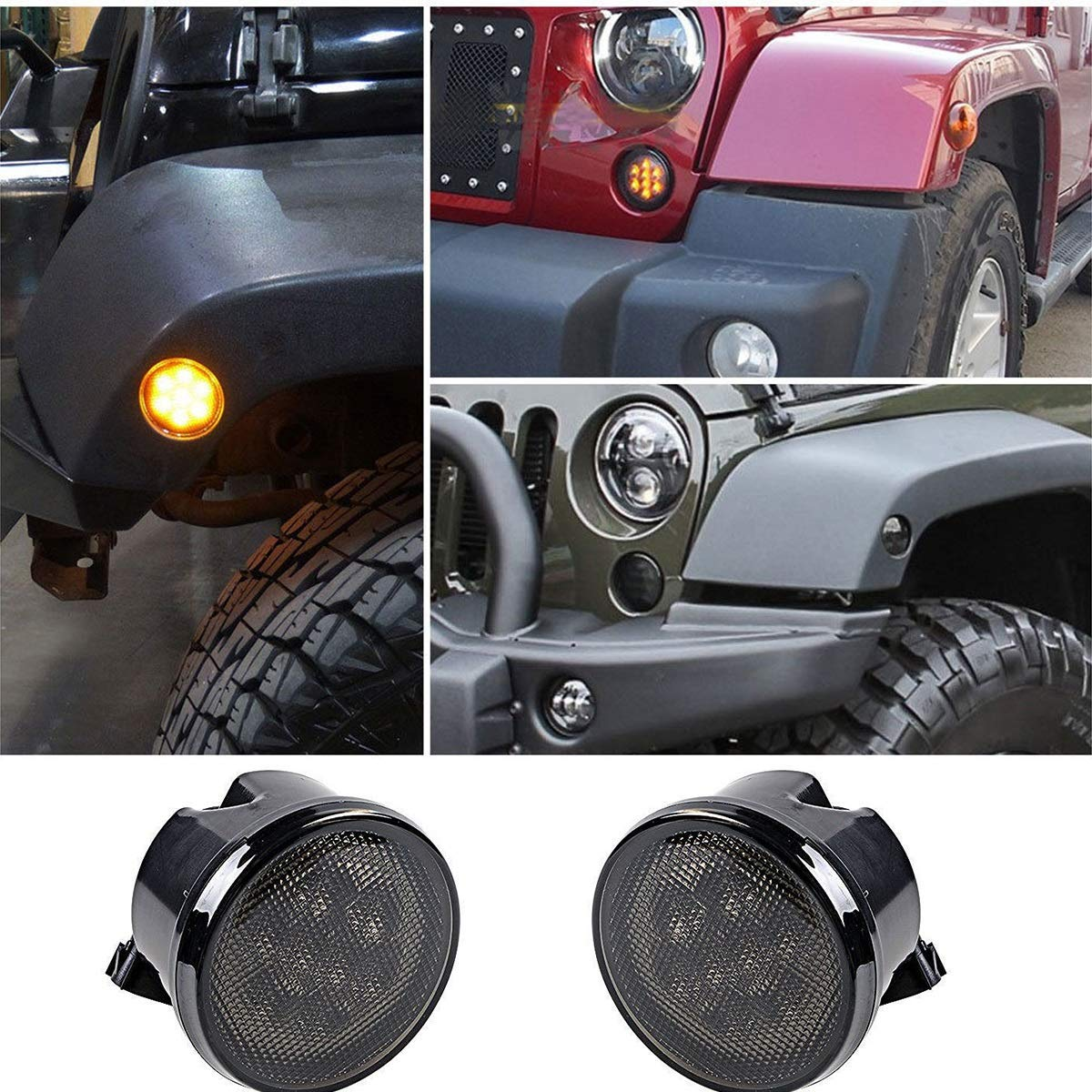 Dibiao 1 Pair Amber DRL Turn Signal LED Lights Offroad Driving Lights Headlamps LED Fog Lights