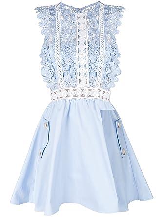 b5cb1f6d2d20 SELF-PORTRAIT Women's Sp14018b Light Blue Polyester Dress: Amazon.co ...