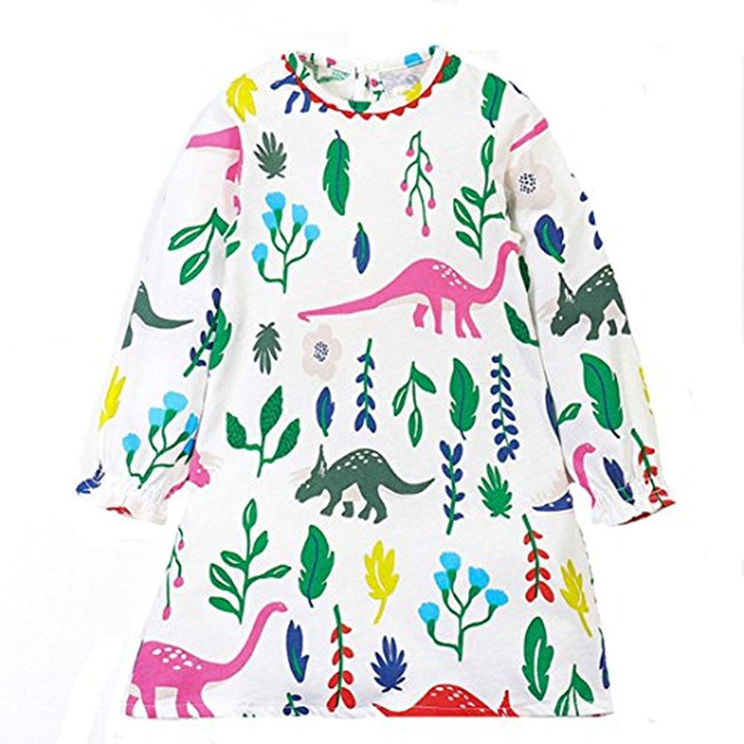 Webla Toddler Kids Girl Dinosaurs Floral Printed Long Sleeve Clothing Autumn Dress for 1-7 Years Old 3-4T