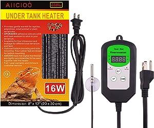 AIICIOO Under Tank Heater Thermostat - Hermit Crab Heater with Temperature Control 16 Watt Reptile Heating Pad for Reptiles Terrarium
