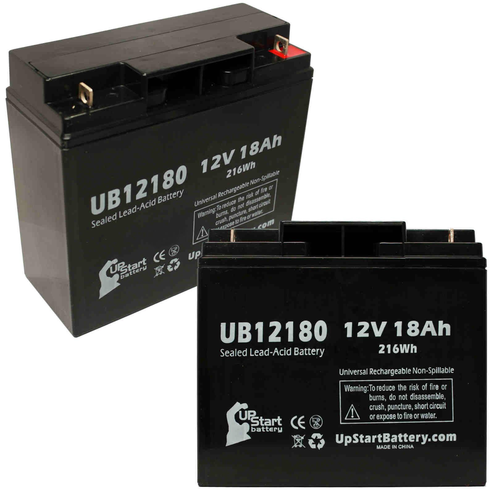 2 Pack Replacement for Pride Gogo Elite Traveler Plus Battery - Replacement UB12180 Universal Sealed Lead Acid Battery (12V, 18Ah, 18000mAh, T4 Terminal, AGM, SLA) by UpStart Battery