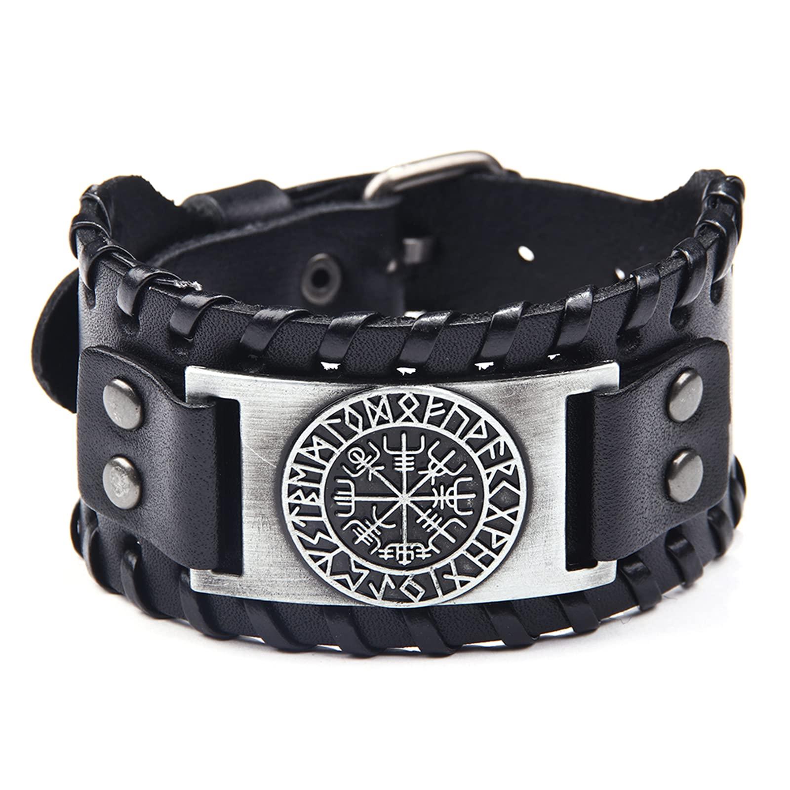 Viking Helm of Awe Bracelet – Leather Bracelet with Aegishjalmr Medallion –