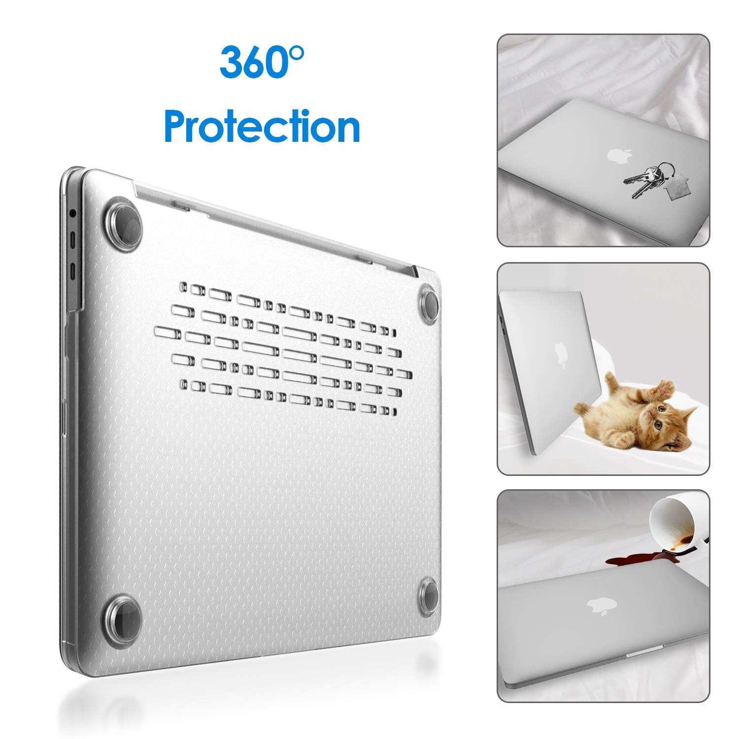 Model: A1989//A1706//A1708 Frost Clear JETech MacBook Pro 13 Case Hard Shell Cover for Apple MacBook Pro 13-Inch 2019//2018//2017//2016 Release