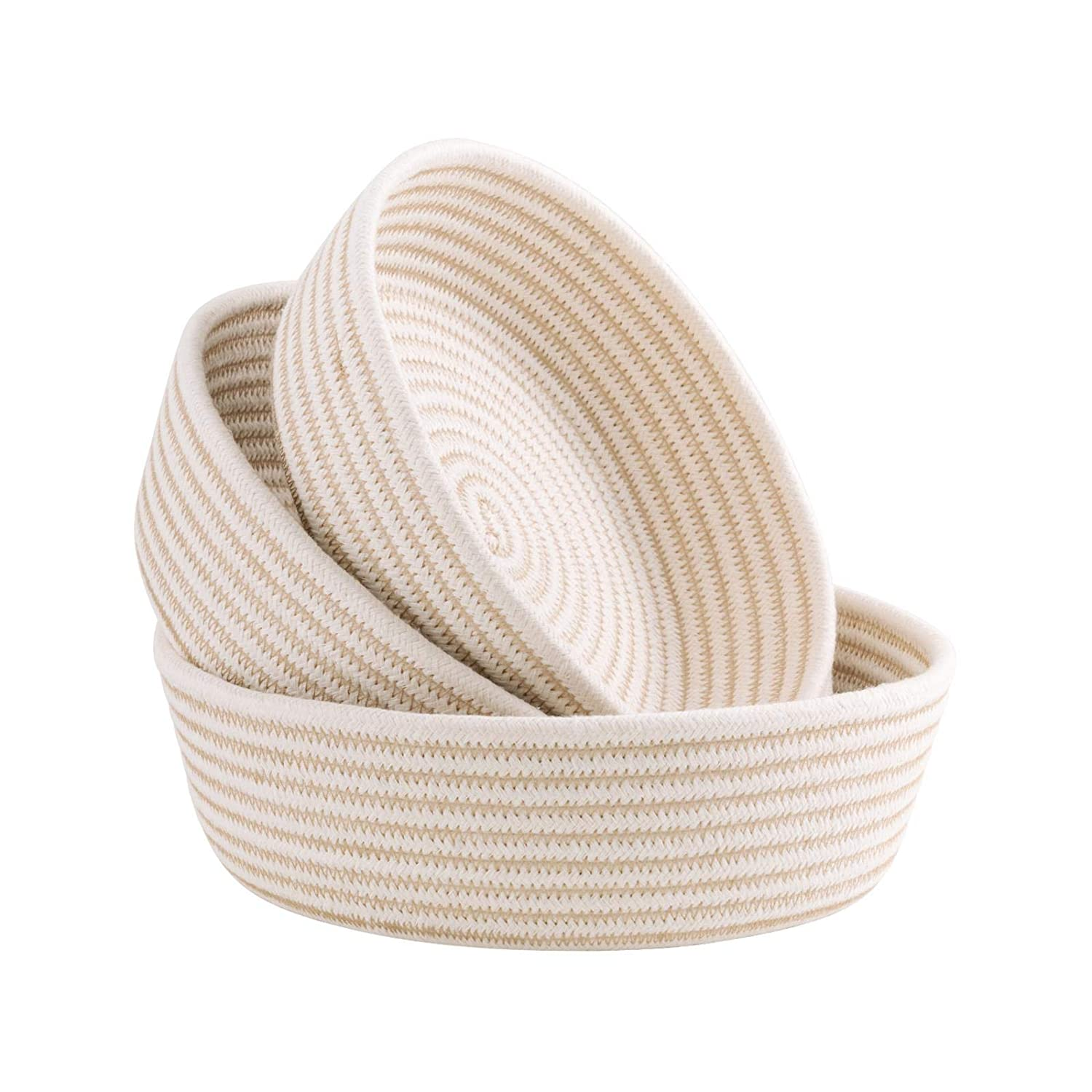 UBBCARE Small Woven Storage Baskets on Table Top Key Pet Toy Storage Bowls Decorative Cotton Rope Trays for Shelves, Entryway and Coffee Table Set of 3