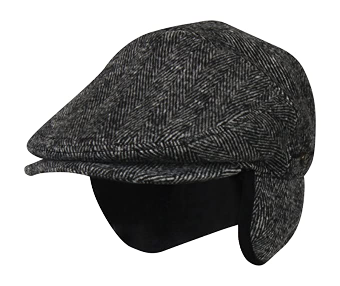 1910s Men's Working Class Clothing Folie Co. 100% Wool Herringbone Winter Ivy Cabbie Hat w/Fleece Earflaps – Driving Hat $44.99 AT vintagedancer.com