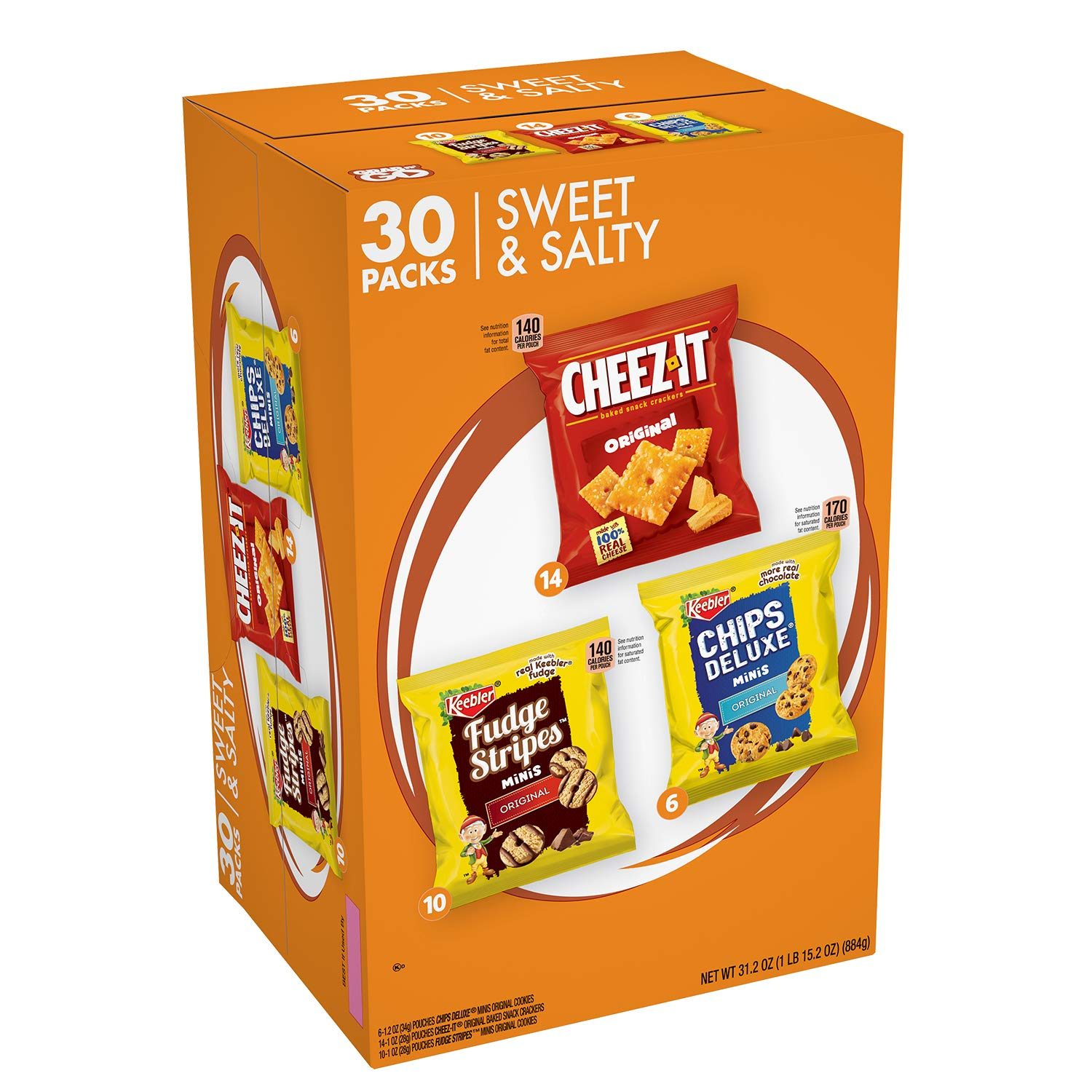 Keebler Sweet & Salty Cookies and Crackers Variety Pack, , 30 Count Chips Deluxe/Fudge Stripe, 31.2 Ounce
