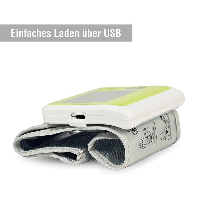 Sharon Tensiómetro de muñeca Bluetooth Integrado | Batería Recargable por Cable Micro USB | Almacena 60 mediciones | SwissMed App Gratuita en Play Store ...