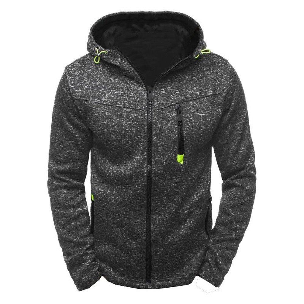 Mens Sweatshirt, Autumn Winter Long Sleeve Solid Color Hoodies Hooded Pullover Tops Jacket Coat Outwear (L, Black)